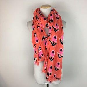 Gap Women's Orange Coral Floral Scarf Accessory